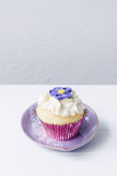 Vanilla cupcake with purple flower Royalty Free Stock Photography