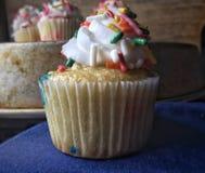 Vanilla Cupcake with Rainbow sprinkles stock photos