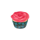 Vanilla cupcake with rose buttercream icing Royalty Free Stock Images