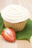 Vanilla Cupcake with Strawberry Royalty Free Stock Photography