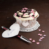 Vanilla cupcake on a table Stock Photo