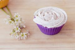 Vanilla cupcake with white frosting and flowers on a table. Vanilla cupcake with white lime frosting and flowers on a table Royalty Free Stock Photos