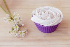 Vanilla cupcake with white frosting and flowers on a table. Vanilla cupcake with white lime frosting and flowers on a table Stock Photos