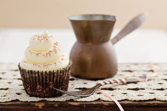 Vanilla cupcakes with buttercream topping Royalty Free Stock Image