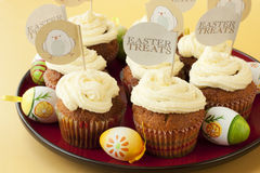 Vanilla cupcakes with cream decorated for Easter Royalty Free Stock Image