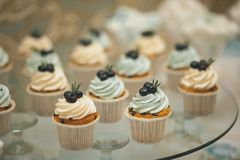 Vanilla cupcakes with cream icing, decorated with berries, close-up on a glass dish on the wedding table. The concept of food, stock images