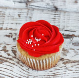 Vanilla cupcakes decorated with a red rose from a cream on a white background Stock Images