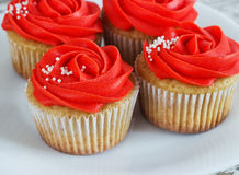 Vanilla cupcakes decorated with a red rose from a cream on a white background.  Stock Image