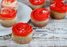Vanilla cupcakes decorated with a red rose from a cream on a white background Royalty Free Stock Image