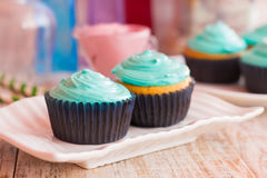 Vanilla cupcakes with mint cream. Festive cupcakes vanilla cupcakes with mint cream Stock Images