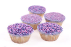 Vanilla cupcakes, with purple-coloured buttercream. Vanilla cupcakes, decorated with lavender-coloured buttercream and pink & purple sprinkles Royalty Free Stock Photo