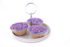 Vanilla cupcakes, with purple-coloured buttercream. Vanilla cupcakes, decorated with lavender-coloured buttercream and pink & purple sprinkles Stock Photo