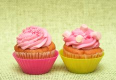 Vanilla cupcakes with strawberry icing Stock Photography