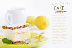 Vanilla custard cream cake Royalty Free Stock Images