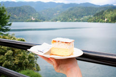 Vanilla and custard cream cake on Bled lake - symbol Stock Photo