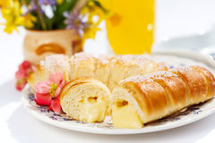 Vanilla custard stuffed pastry Stock Image