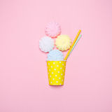 Vanilla desert on a pink background. Minimal style Royalty Free Stock Photos