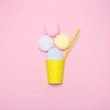 Vanilla desert on a pink background. Minimal style Royalty Free Stock Photos