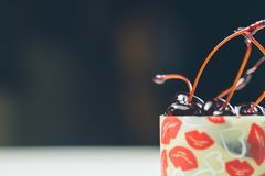 Vanilla dessert with cherry confiture Royalty Free Stock Photography
