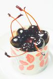 Vanilla dessert with cherry confiture Royalty Free Stock Photos