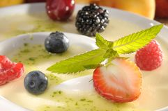Vanilla Dessert with fruits Stock Photo
