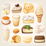 Vanilla desserts. Set of delicious sweets and desserts with vanilla flavor for valentine day Royalty Free Stock Photography