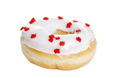 Vanilla Doughnut With Red Maple Leaves Royalty Free Stock Images