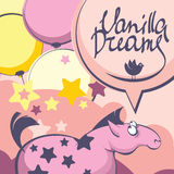 Vanilla dreams of pink horse. Dreaming horse on heaven background with baloons in pastel colors Stock Photo