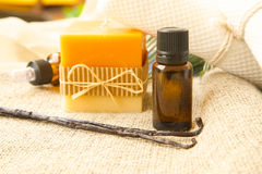 Vanilla essential oil Royalty Free Stock Images