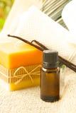 Vanilla essential oil Stock Images