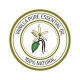 Vanilla, essential oil label, aromatic plant Royalty Free Stock Photos