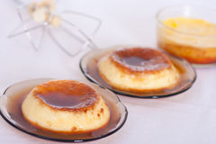 Vanilla flan. Flan: Sweet custard with a caramel topping. Pudding. Vanilla flavour. Crème caramel, known as flan in the US and Spanish speaking countries, and Royalty Free Stock Photo