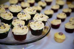 Vanilla topped cupcakes on a glass tray. Vanilla flavoured cupcakes on display on a glass stand woth other in the background Royalty Free Stock Photography