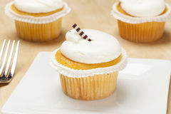 Vanilla Frosted Cupcake Stock Photo