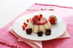 Vanilla and fruits ice cream Stock Photo