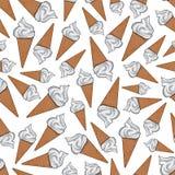 Vanilla gelato ice cream cones seamless pattern Royalty Free Stock Image