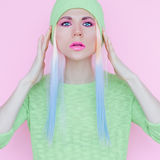 Vanilla girl style. Trendy hairs and makeup.  royalty free stock image
