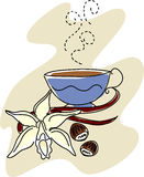 Vanilla with Hazelnuts and Coffee. Vector sketch of a vanilla orchid, vanilla beans, and hazelnuts with a steaming cup of flavored coffee Royalty Free Stock Image