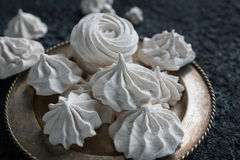 Vanilla homemade zephyr, delicious white marshmallows Stock Photos