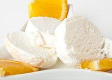 Vanilla ice cream. With orange slices Stock Photo