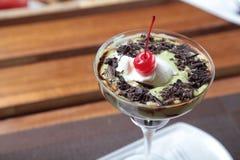 Vanilla ice cream with avocado and chocolate Royalty Free Stock Photography