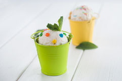 Vanilla ice cream ball in small buckets Stock Photos