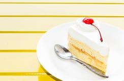 Vanilla ice cream with banana and chocolate. Sauce Stock Photo