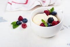 Vanilla ice cream with berries Stock Photo