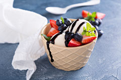 Vanilla ice cream with berries and chocolate syrup Royalty Free Stock Photo