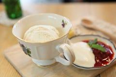 Vanilla ice cream with cake Royalty Free Stock Images