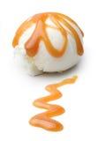 Vanilla ice cream with caramel isolated Stock Photography