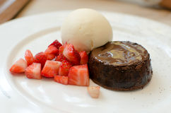 Vanilla ice cream, chocolate bread Stock Photo