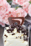 Vanilla ice cream with chocolate sprinkles Stock Images