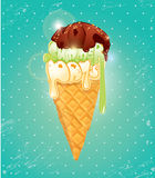 Vanilla Ice cream cone with Chocolate glaze. The top of icecream Royalty Free Stock Photos
